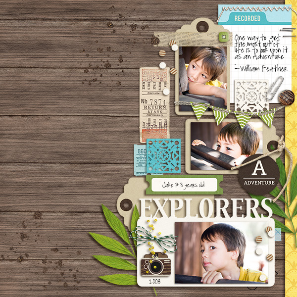 Explorers digital scrapbooking page by mikinenn  using Project Mouse (Adventure) by Britt-ish Designs and Sahlin Studio