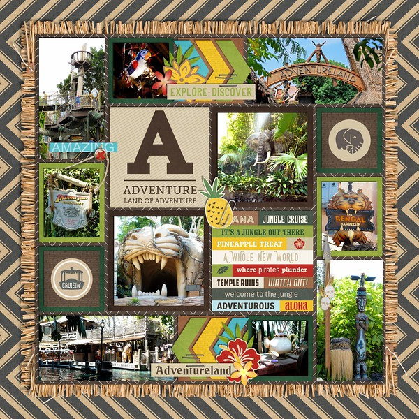 Disney Adventureland digital scrapbooking page by QuiltyMom using Project Mouse (Adventure) by Britt-ish Designs and Sahlin Studio