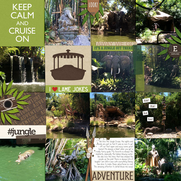 Disney Jungle Cruise digital pocket scrapbooking page by fonnetta using Project Mouse (Adventure) by Britt-ish Designs and Sahlin Studio