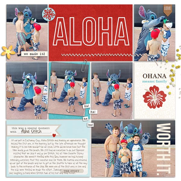Disney Aloha Stitch Meet and Greet digital pocket scrapbooking double page by hairica using Project Mouse (Adventure) by Britt-ish Designs and Sahlin Studio