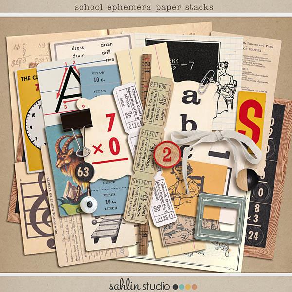 School Ephemera Paper Stacks by Sahlin Studio