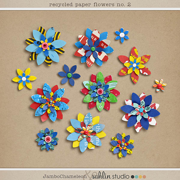 Recycled paper flowers no 2 sahlin studio digital scrapbooking recycled paper flowers no 2 mightylinksfo