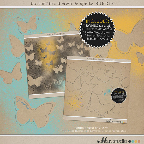 Butterflies: Drawn and Spritz Bundle by Sahlin Studio