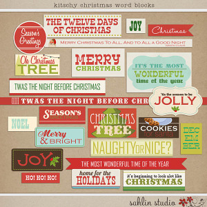 Kitschy Christmas Word Blocks by Sahlin Studio
