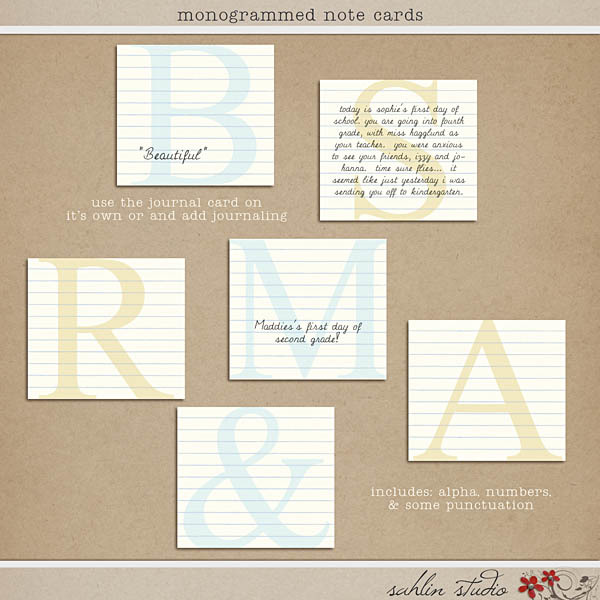 Monogrammed Note Cards by Sahlin Studio
