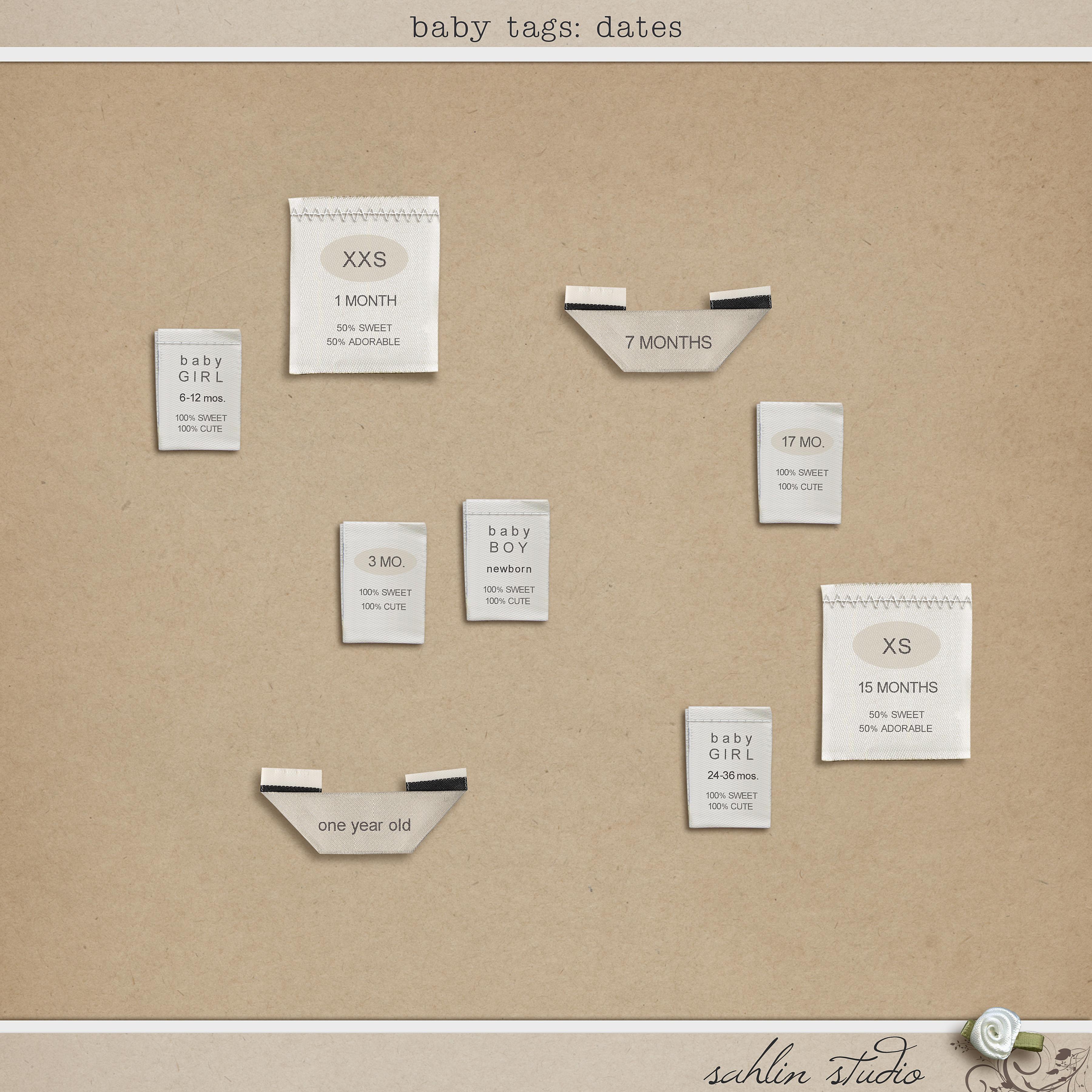 Baby Tag Dates by Sahlin Studio