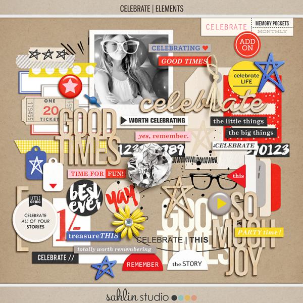 Celebrate (Elements)   Digital Scrapbook Elements   Sahlin Studio