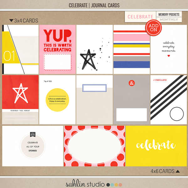 Celebrate (Journal Cards) | Digital Journal Cards | Sahlin Studio