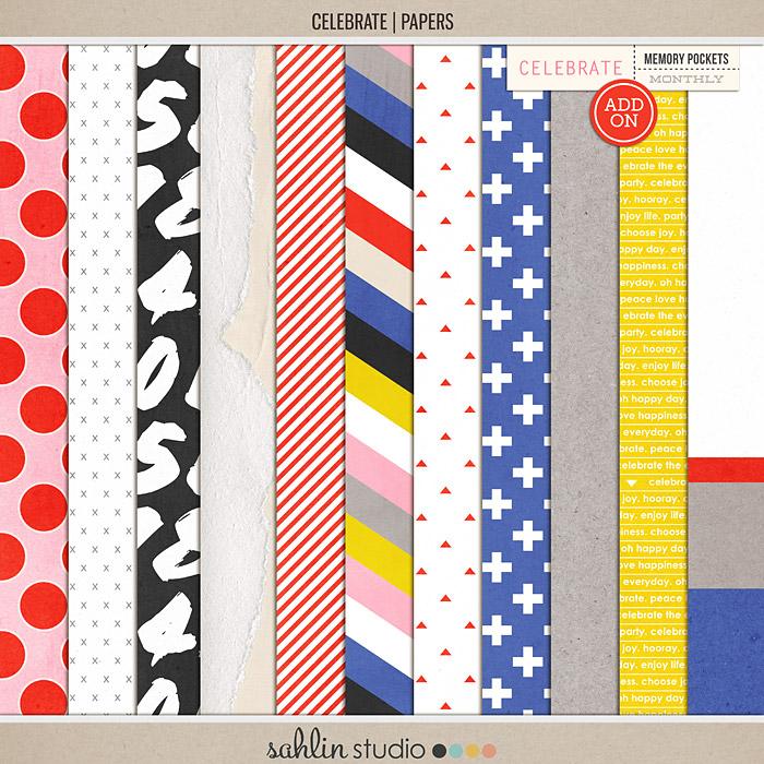Celebrate (Papers) | Digital Scrapbook Papers | Sahlin Studio