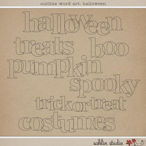 Outline Word Art Halloween