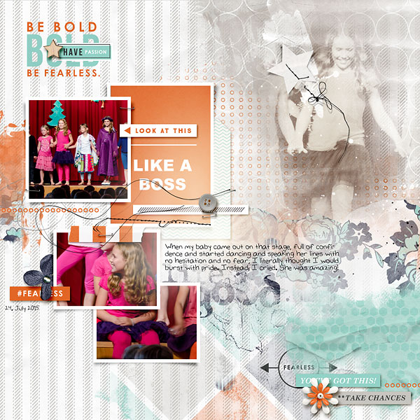 "Digital Scrapbook Inspiration using ""Like a Boss"" (Kit, Journal Cards) by Sahlin Studio"