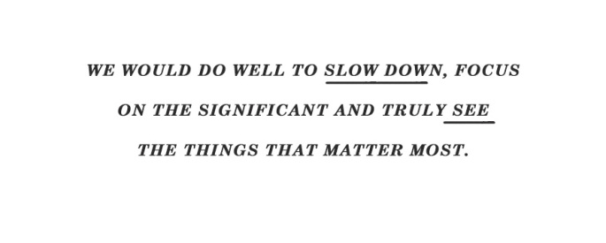 Inspirational Words / Quote: We would do well to slow down a little, focus on the significant, and truly see the things that matter most.