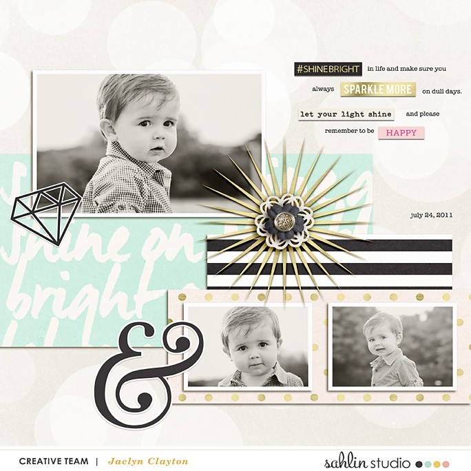 "Digital Scrapbook Inspiration using August FREE Digital Scrapbook Template & ""Shine Bright"" (Kit, Journal Cards) by Sahlin Studio"