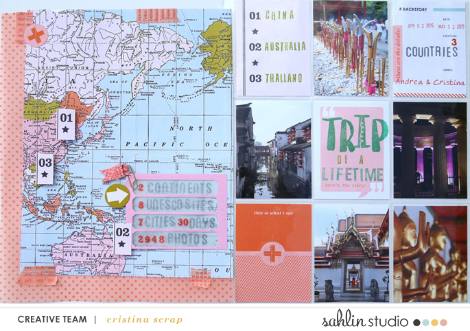 Trip Of A Lifetime hybrid scrapbook pages by Cristina using Viewpoint Collection by Sahlin Studio