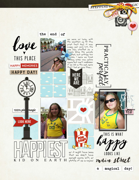 Digital scrapbooking inspiration page by MrsPeel using Project Mouse: Main Street by Britt-ish Designs and Sahlin Studio