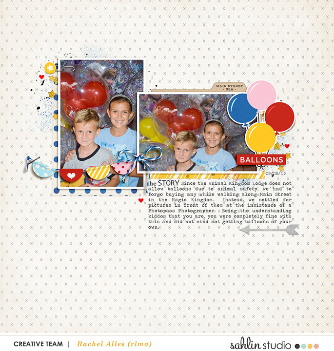 Disney Balloons Digital scrapbooking inspiration page  using Project Mouse: Main Street by Britt-ish Designs and Sahlin Studio
