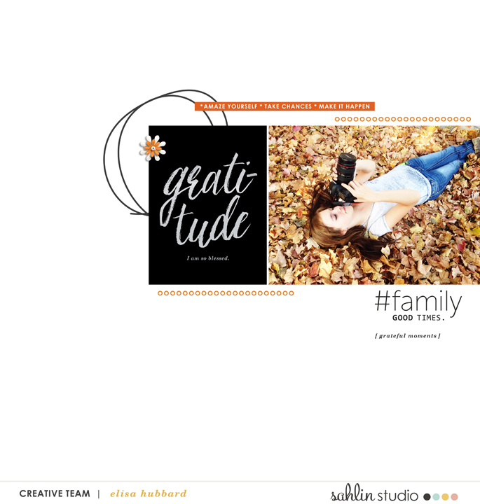 Fall Autumn Gratitude Digital Scrapbook layout featuring Gather by Sahlin Studio