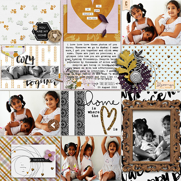digital pocket scrapbooking layout by Shivani featuring mpm home add on: gather.