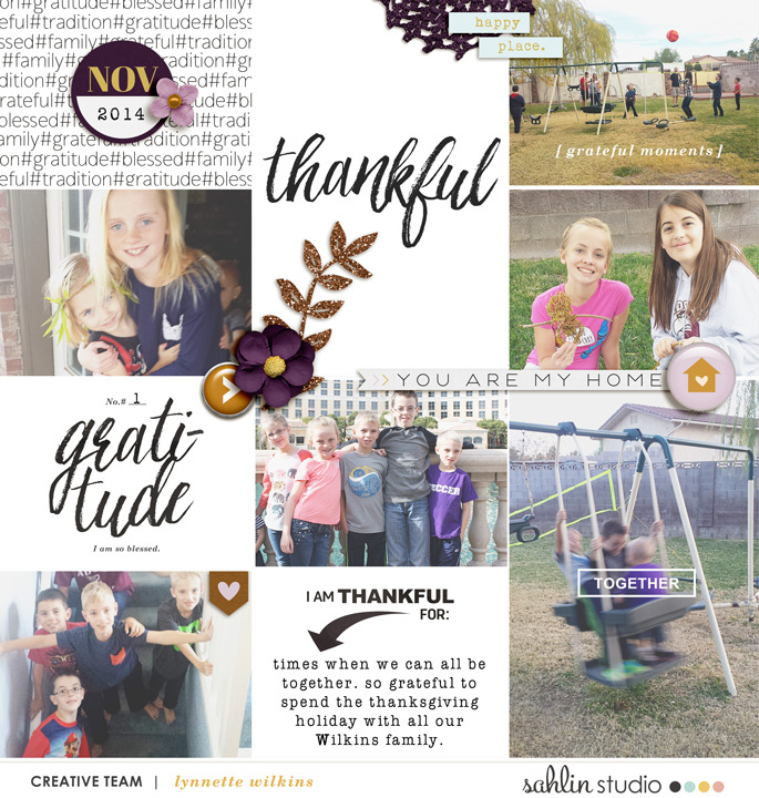 Thankful, Gratitude Digital Project Life layout featuring MPM: Home and Gather by Sahlin Studio