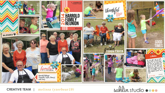 Digital Scrapbook layout featuring Gather by Sahlin Studio