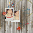 digital scrapbook layout featuring handmade paper flowers: autumn sunset by sahlin studio