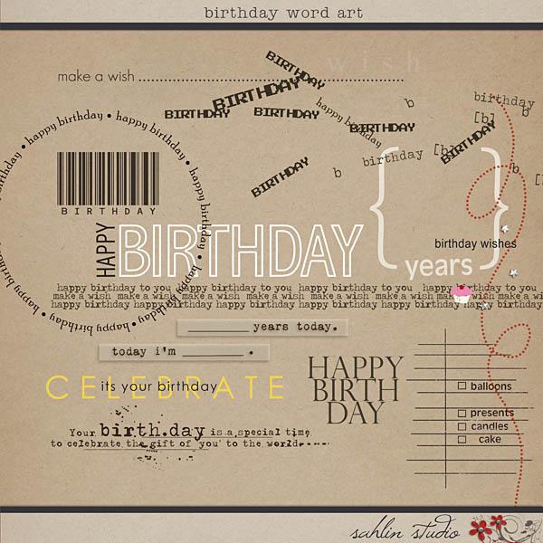 Birthday Word Art by Sahlin Studio