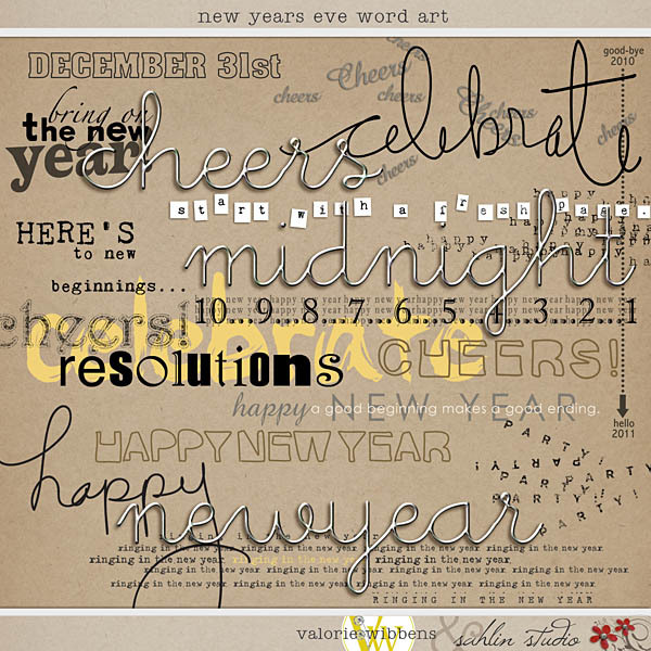 New Year's Eve: Word Art by Valorie Wibbens and Sahlin Studio