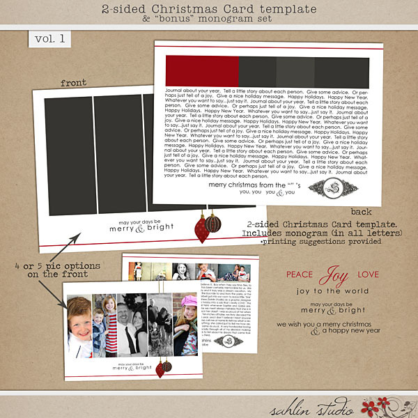 2-Sided Card Template & Bonus Monogram Vol. 1 by Sahlin Studio