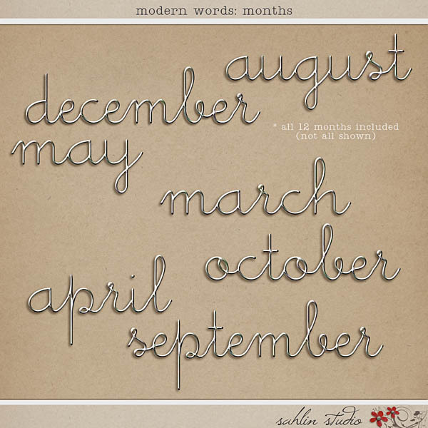 Modern Words: Months by Sahlin Studio