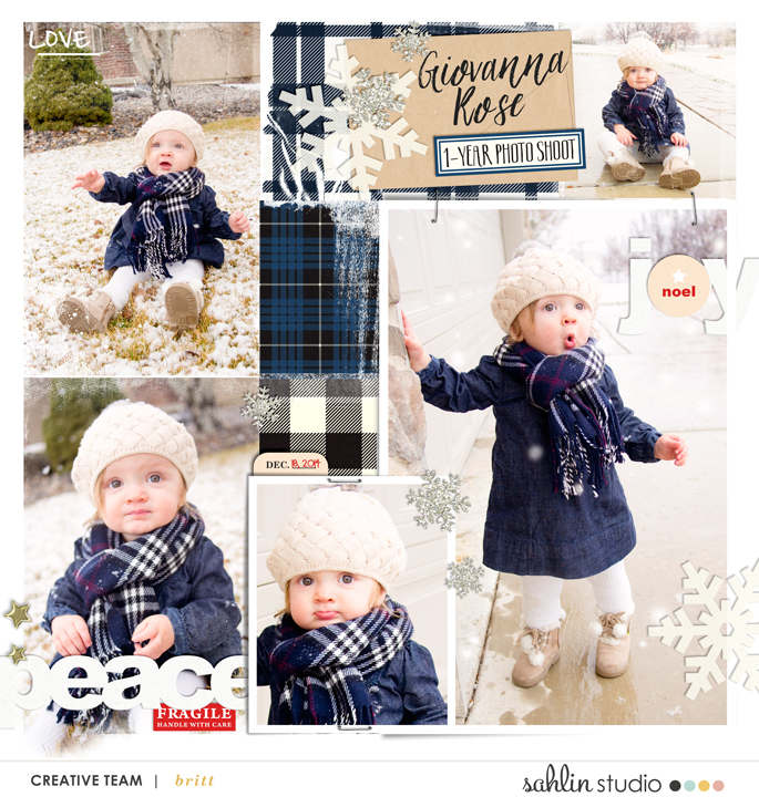 Winter digital scrapbook layout featuring Mad For Plaid by Sahlin Studio