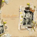 digital scrapbooking layout featuring pressed petals by Sahlin Studio
