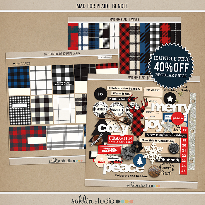 Mad for Plaid (BUNDLE) by Sahlin Studio | Perfect for Project Life, December Daily or Document your December projects!!