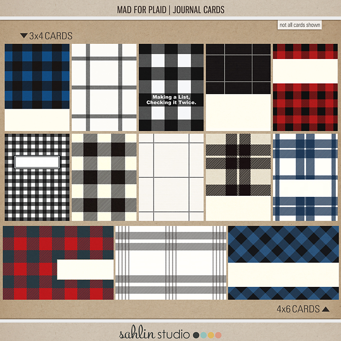 Mad for Plaid (Journal Cards)by Sahlin Studio | Perfect for Project Life, December Daily or Document your December projects!!