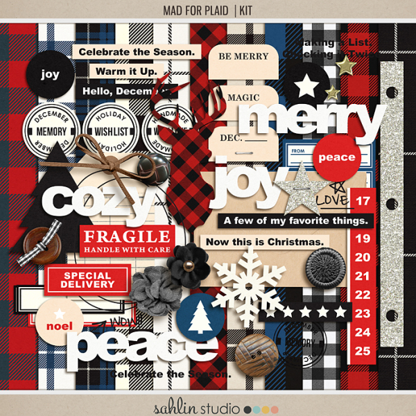 Mad for Plaid (Kit) by Sahlin Studio | Perfect for Project Life, December Daily or Document your December projects!!