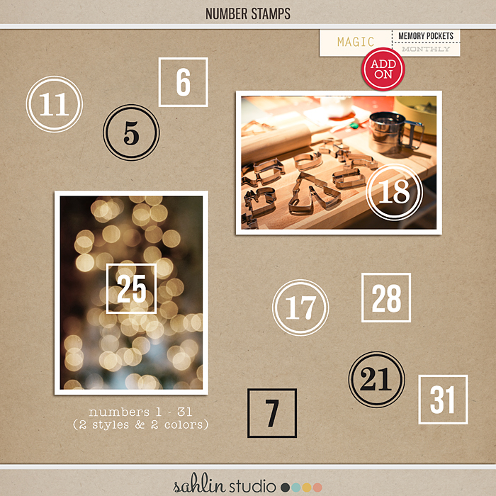 Number Stamps by Sahlin Studio - Perfect to use for Project Life or Document Your December or December Daily projects!!