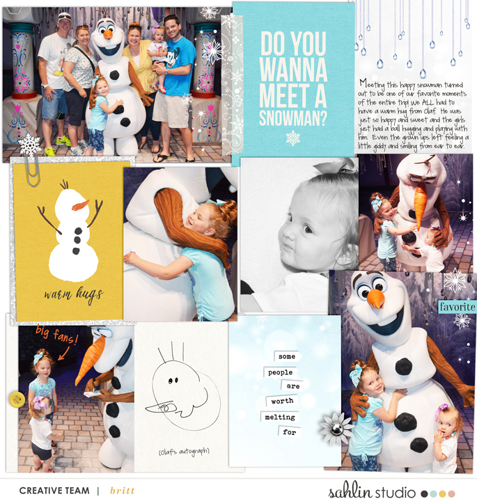 Disney's Olaf meet and greet digital Project Life page featuring Project Mouse: Ice by Britt-ish Designs and Sahlin Studio