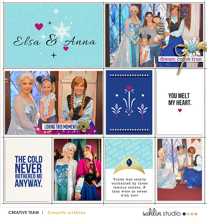 Disney's Elsa and Anna Meet and Greet Project LIfe layout featuring Project Mouse: Ice by Britt-ish Designs and Sahlin Studio