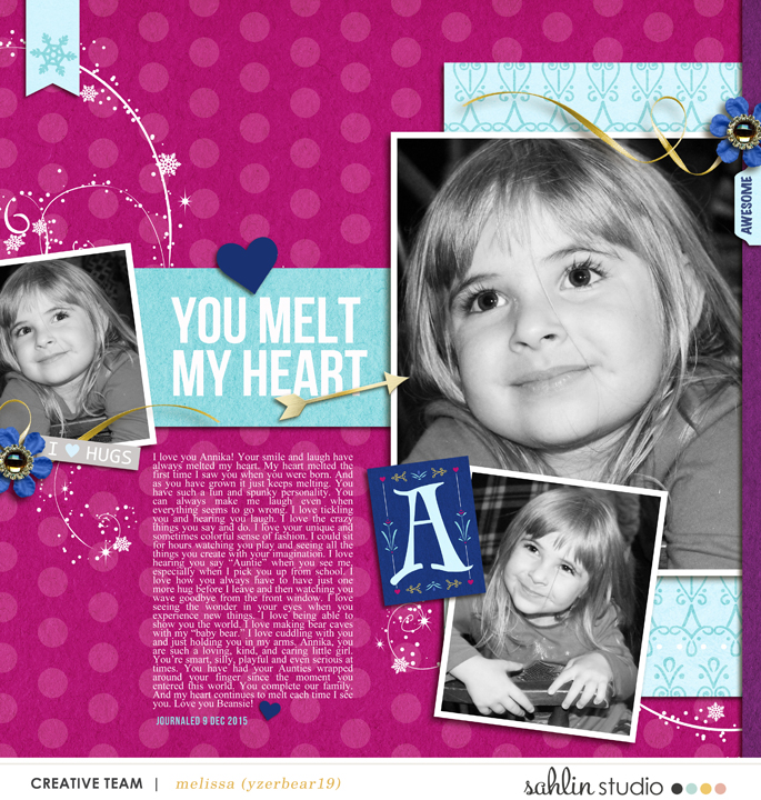 You Melt My Heart digital scrapbooking page featuring Project Mouse: Ice by Britt-ish Designs and Sahlin Studio