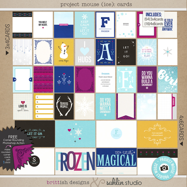 Project Mouse: Ice (Journal Cards) by Britt-ish Designs and Sahlin Studio - Perfect for your Project Life or Project Mouse albums for scrapbooking Disney's Frozen or other magical winter memories.