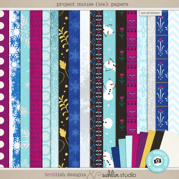 Project Mouse: Ice (Papers) by Britt-ish Designs and Sahlin Studio - Perfect for your Project Life or Project Mouse albums for scrapbooking Disney's Frozen or other magical winter memories.
