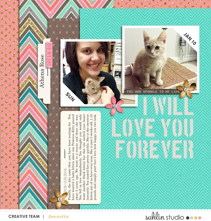 Dream Big digital scrapbooking page featuring Photo Tabs by Sahlin Studio