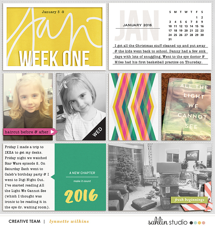 Week One digital Project Life page featuring Photo Tabs and Calendar Cards by Sahlin Studio