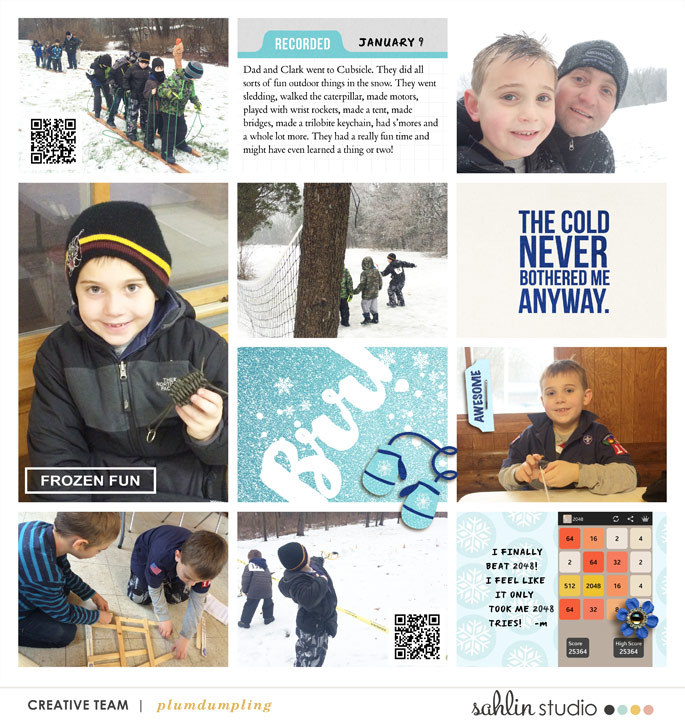 Brrr digital Project Life Inspiration featuring Photo Tabs and Calendar Cards by Sahlin Studio
