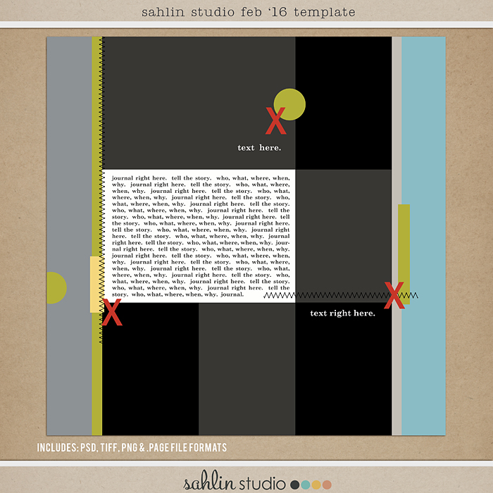 February 2016 Template by Sahlin Studio - Digital scrapbook templates perfect for making pages in a snap!