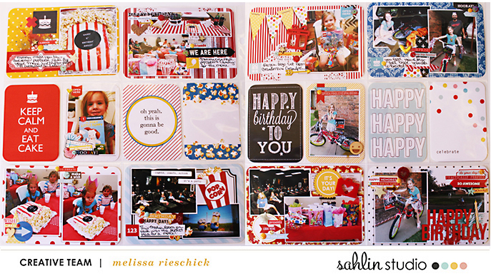 Happy Birthday   Combining Themed Kits  Project Life page by Melissa Rieschick using Birthday Cake & Project Mouse Main Street by Sahlin Studio