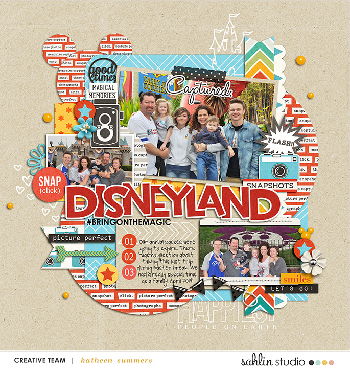 Disneyland  Digital Scrapbooking layout featuring Flashback by Sahlin Studio