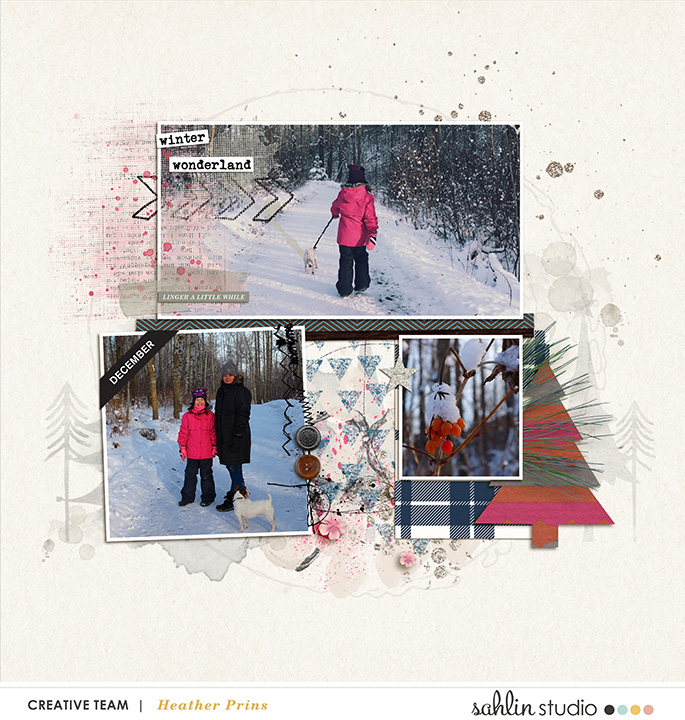 Winter digital scrapbooking inspiration featuring Photo Tabs by Sahlin Studio