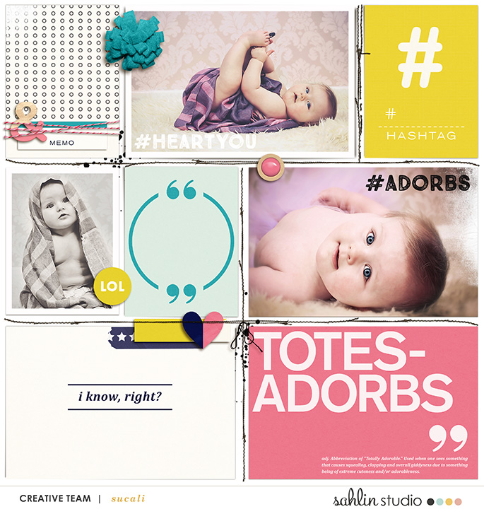 Totes Adorbs Digital Project Life page using Totes Adorbs by Sahlin Studio
