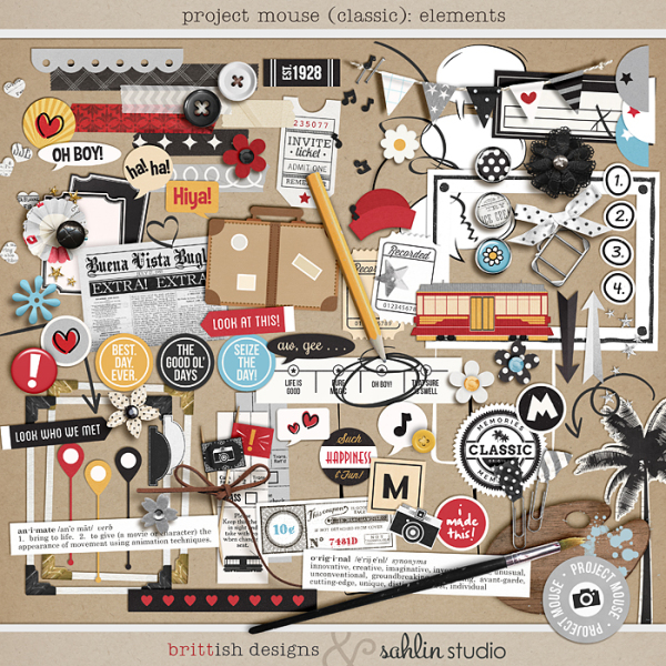 Project Mouse: Elements by Britt-ish Designs and Sahlin Studio - Perfect for Disney Hollywood Studio, Mickey Project Mouse or Project Life Albums!!