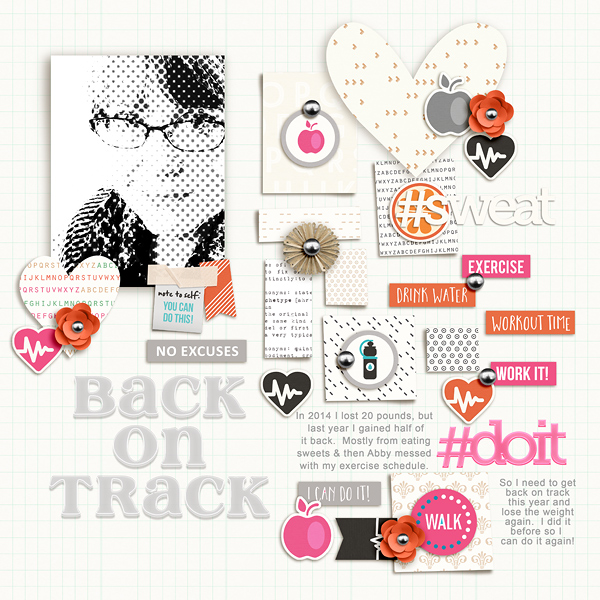 #Work Fitness Exercise digital scrapbooking page using Love your Body by Sahlin Studio
